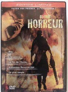 Coffret 5 dvd horreur-édition limitée-halloween resurrection-l'exorciste_au commencement-le fils de chucky-un plan simple-may
