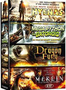Créatures - coffret 4 films : hyenas + mega python vs. gatoroid + dragon fury + merlin et la guerre des dragons - pack