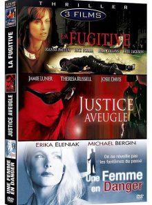 Thriller - coffret 3 films : la fugitive + justice aveugle + une femme en danger - pack