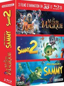 3 films d'animation en blu-ray 3d et 2d : le manoir magique + sammy 2 + le voyage extraordinaire de sammy