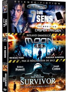 Science-fiction - coffret 3 films : prémonition + moon 44 + le survivant d'un monde parallèle - pack