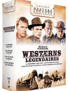 Richard widmark - 4 westerns légendaires : coup de fouet en retour + une poignée de plomb + la dernière caravane + quand meurent les légendes - pack