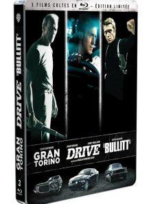3 films cultes - coffret - gran torino + drive + bullitt - édition limitée boîtier steelbook - blu-ray
