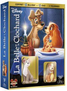 La belle et le clochard - coffret blu-ray + dvd + 2 figurines